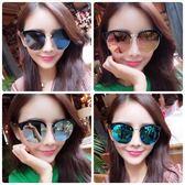現貨-韓國ulzzang時尚百搭半框金屬框墨鏡女潮明星款復古太陽眼鏡圓臉方長個性眼鏡優雅大框墨鏡