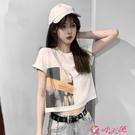 短袖上衣 2021年夏裝新款韓版百搭短袖t恤女潮網紅超火短款露臍上衣性感 小天使 99免運