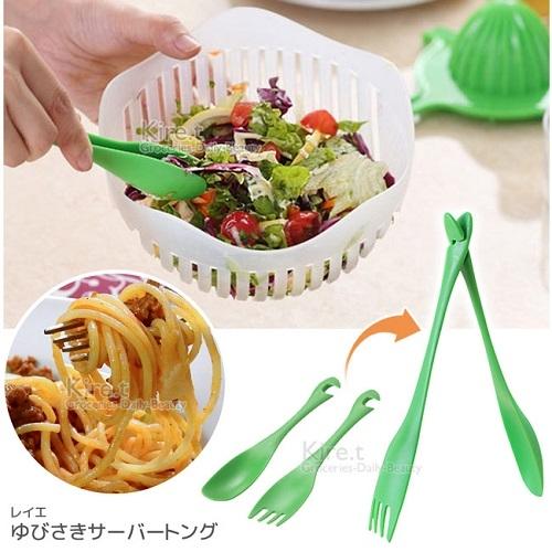【超值8入】隨口吃4湯匙+4叉子 輕鬆變身食物夾 餐具 叉勺巧變沙拉夾-kiret