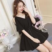 大尺碼洋裝 新款顯瘦V領減齡暗黑吊帶一字肩寬鬆收腰系帶連身裙女夏