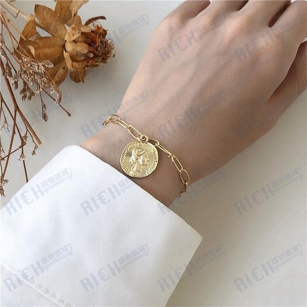 冷淡風復古女王頭像鏈條手鏈韓國個性酷女孩幾何鏈條硬幣手飾