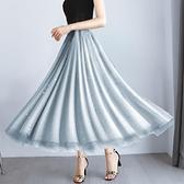 網紗裙 a字高腰網紗裙半身裙女夏春秋中長款百褶春季顯瘦長裙子-Ballet朵朵