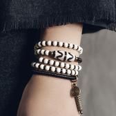 多層纏繞黑檀木混搭天珠復古手鍊手飾/設計家