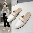 2020年韓版優雅馬銜扣方頭低跟穆勒鞋 涼拖鞋2色
