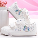 兒童帆布鞋透氣小白鞋魔術貼學生鞋寶寶球鞋女童帆布鞋休閒鞋板鞋
