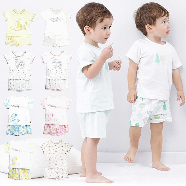 套裝 短袖 上衣 短褲 純棉 男女童 寶寶 小熊 熊與鼠 藍邊 紅邊 藍色 粉色 黃色