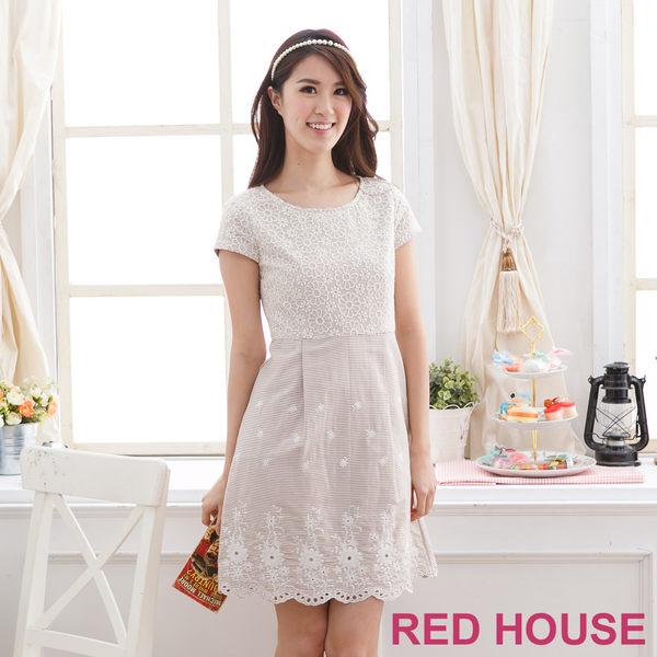 【RED HOUSE-蕾赫斯】刺繡拼接蕾絲洋裝-網路獨家款