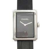 CHANEL 香奈兒 Boy・Friend Mid系列黑色鱷魚皮錶帶石英腕錶 H4884 【BRAND OFF】
