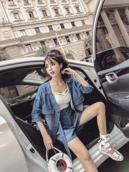 2018秋裝新款韓版氣質單排扣大V領牛仔外套上衣 高腰闊腿短褲套裝