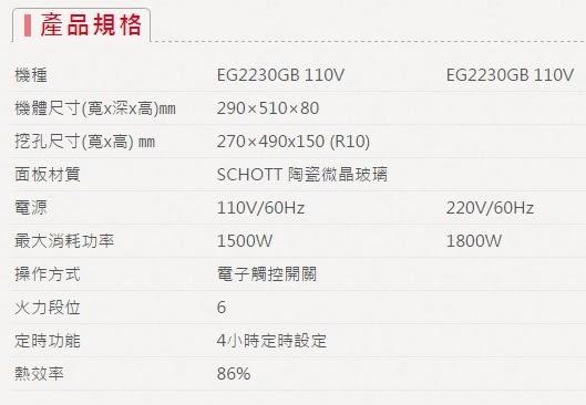 【歐雅系統家具】櫻花 SAKURA EG2230GB 單口IH感應爐
