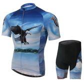 自行車衣-(短袖套裝)-帥氣飛鷹吸濕排汗男單車服套裝裝73er6【時尚巴黎】