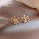耳釘 煙花珍珠耳釘潮網紅氣質女耳環925純銀銀針耳飾高級感 星河光年