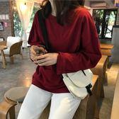 秋季韓版新款學生百搭純色寬鬆套頭圓領長袖T恤學生打底上衣女裝