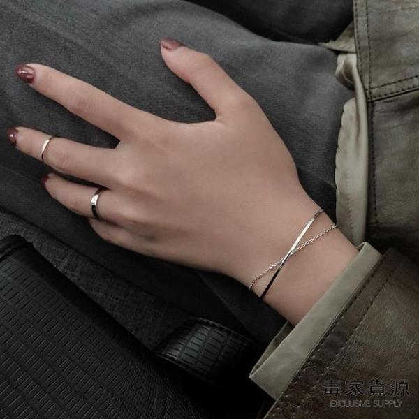 925銀手鐲女雙層手鏈閨蜜小眾設計冷淡風手飾品【毒家貨源】
