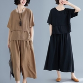文藝復古棉麻套裝女夏季新款寬鬆休閒鬆緊腰闊腿褲兩件套顯瘦