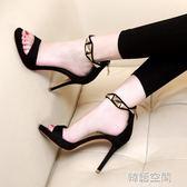 小清新露趾涼鞋女夏細跟高跟鞋性感黑色一字帶防水台女鞋