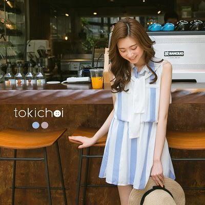 東京著衣-附披肩襯衫領條紋縮腰洋裝-XS.S.M(6016945)