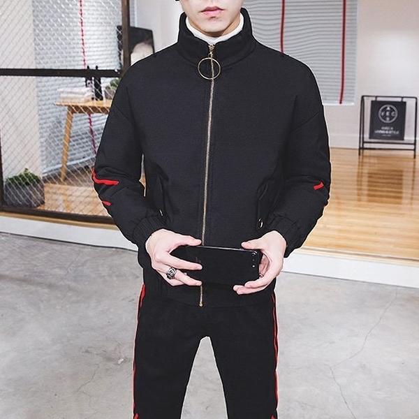 FINDSENSE品牌 秋冬季 新款 韓國 嘻哈條紋 個性拼接 運動 加厚 寬鬆