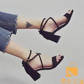 涼鞋女夏仙女風時尚網美中跟粗跟羅馬高跟鞋【慢客生活】
