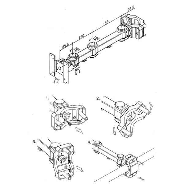 【海洋視界SPEEDCOM LA-1280W】台灣製造 (15-26吋) 夾管式液晶電視螢幕手臂支架 顯示器手臂架
