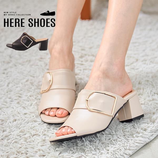 [Here Shoes]拖鞋-MIT台灣製 皮質跟高6.5cm 穆勒鞋 魚口涼拖鞋 扣環繫帶造型 純色百搭-KW7061