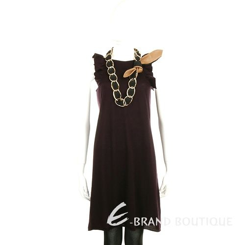 BRUNO MANETTI 100% CASHMERE 深紫色無袖荷葉邊洋裝(不含配件) 1040085-83