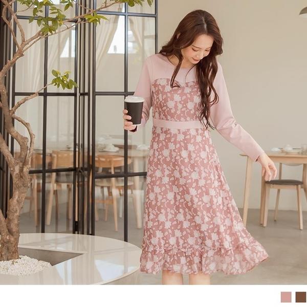 假兩件質感燒花蕾絲拼接高腰荷葉裙襬長洋裝 OB嚴選《DA8100-》