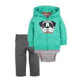 男Baby男童套裝三件式綠色可愛狗狗純棉套裝含包屁衣外套及長褲現貨歐美品質