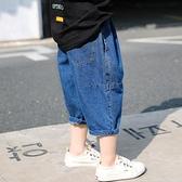 男童牛仔褲 牛仔中褲夏薄款短褲兒童洋氣燈籠褲外穿七分褲中小童男孩寬鬆【快速出貨】