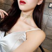 項鏈歐美金色性感隱形頸鏈chocker鎖骨鏈女脖子飾品頸帶韓國短款項鏈-大小姐韓風館