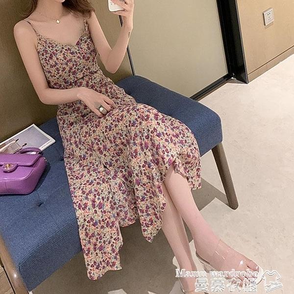 吊帶洋裝 紫色吊帶碎花連身裙女夏氣質性感法式小個子初戀裙開叉雪紡裙子潮 新品