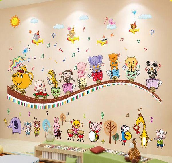 音符墻貼畫卡通兒童房幼兒園音樂教室臥室墻壁裝飾背景墻貼紙自粘JY【全館88折起】