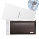 Calvin Klein經典LOGO鐵牌RFID防盜多卡長夾禮盒(深咖色/送帕巾)103047-1