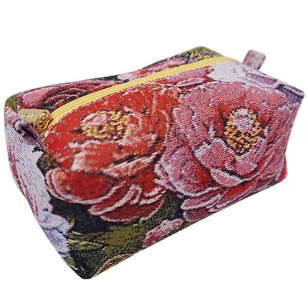 化妝包-復古牡丹織畫緹花蛋糕包 桃紅-REORE