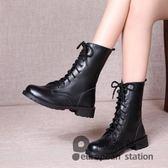 短靴/秋季新款女式靴子交叉繫帶圓頭平跟純色歐美英倫風中筒馬丁靴「歐洲站」