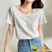 雪花棉麻上衣女夏季2021年新款設計感小眾薄款白色短袖t恤女寬鬆 happybee