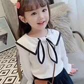 女童上衣 娃娃衫蝴蝶結長袖上衣