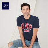Gap男裝 Logo基本款純棉活力風格旗幟印花短袖T恤 639007-復古海軍藍