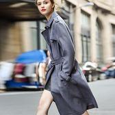 大衣外套-純色綁帶麂皮女風衣73hu14【時尚巴黎】