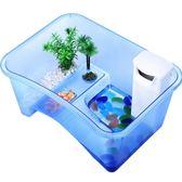 烏龜缸帶曬台養龜的專用缸塑料水陸缸巴西龜小烏龜魚缸造景別墅箱   LannaS