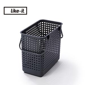 日本like-it可堆疊加高洗衣隙縫籃-L深灰