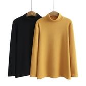 促銷特價 胖MM秋冬季韓版新款大碼女士休閑打底衫復古高領純色坑條長袖絨衫