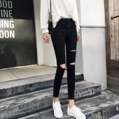 Bolian/珀戀新款黑色破洞牛仔褲女韓版顯瘦鉛筆褲緊身小腳褲 蘑菇街小屋