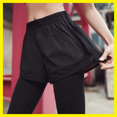 速幹雙層拼紗運動假兩件長褲女跑步服健身瑜伽外搭防走光跑步褲