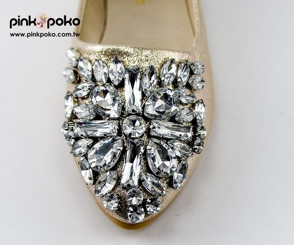 包鞋☆PINKPOKO粉紅波可☆奢華感尖頭滿版水鑽低跟包鞋~2色#1350