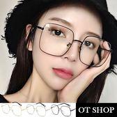 OT SHOP眼鏡框‧韓系歐美流行時尚中性網紅文青中性必備平光眼鏡‧金屬大框‧金/銀/黑‧現貨‧U72