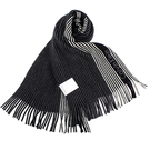 Calvin Klein新款拼色條紋流蘇圍巾(黑色)103215
