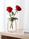 北歐金色鐵藝試管玻璃花瓶客廳插花擺件水培飾品透明玻璃瓶YJT