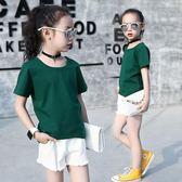 童裝夏裝短袖女童t恤純棉半袖純色衣中大童女孩百搭白色體恤 奇思妙想屋