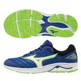 MIZUNO WAVE RIDER 22 JR 女鞋 大童鞋 慢跑 路跑 輕量 緩震 耐磨  網布 藍【運動世界】K1GC183301